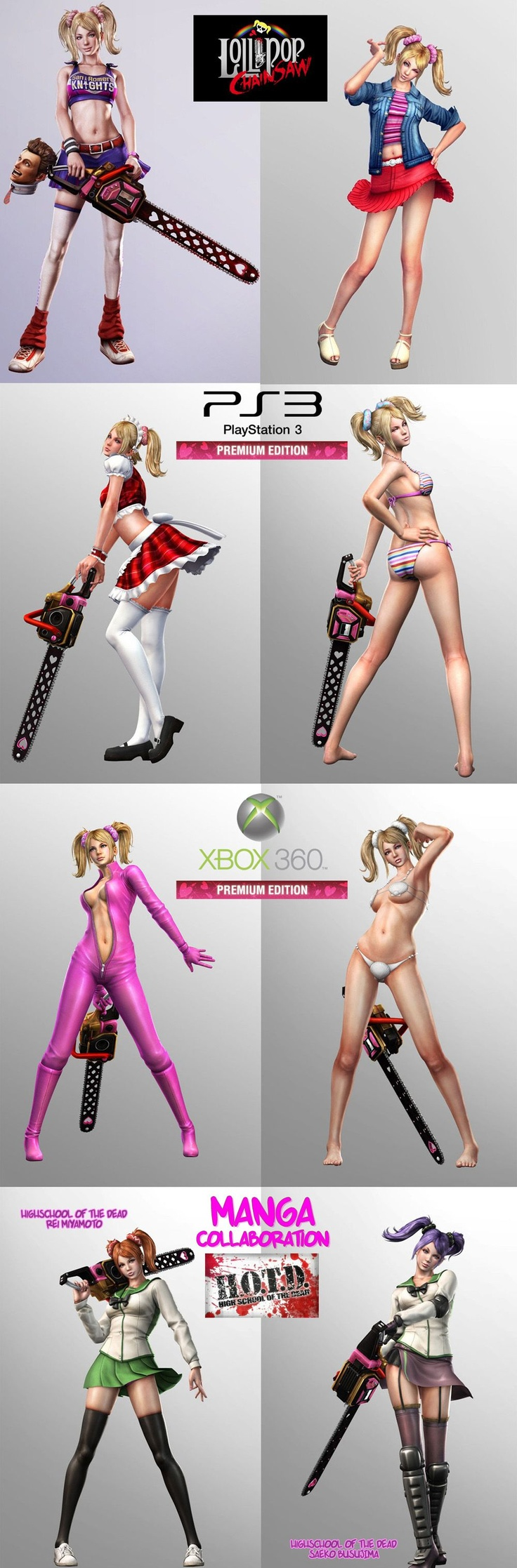 Lollipop Chainsaw Juliet Costumes DLC Downloadable Content  (Premium Edition, Playstation 3, Xbox 360, Manga Collaboration)