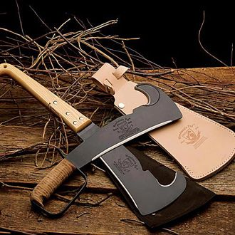 Woodsman's Pal: Woodsmans Pal Brush-Clearing Machete Blade, Leather Handled