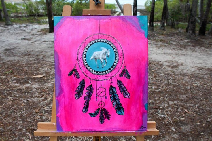 Dream Horse by Shanay. #Acrylic on canvas #fluro #horse #dreamcatcher #painting