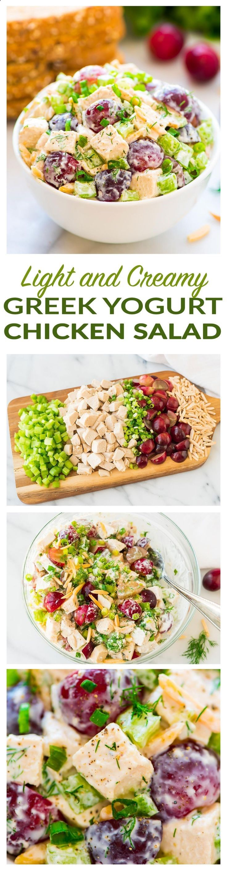 Skinny Greek Yogurt Chicken Salad with Grapes, Celery, and Fresh Dill. Creamy, cool, and crunchy! A quick, easy, healthy recipe that's perfect for sandwiches and salads. Omit honey for the 21 Day Fix diet - Recipe at wellplated.com | Well Plated