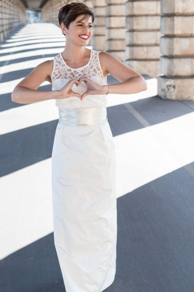 Robe de mariée Lydia avec ceinture noeud en cuir