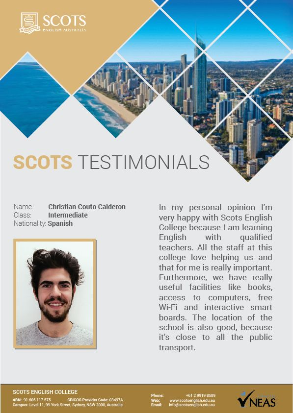 Thank you for studying with us! Also, thank you for sharing your thoughts about us!  #Testimonials #Students #ELICOS #EnglishLanguageCourse #ScotsEnglishCollege
