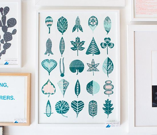 """""""Inspired by traditional Montessori leaf charts and vintage dish towels, this three colour screen print features twenty-five variations on a theme."""""""