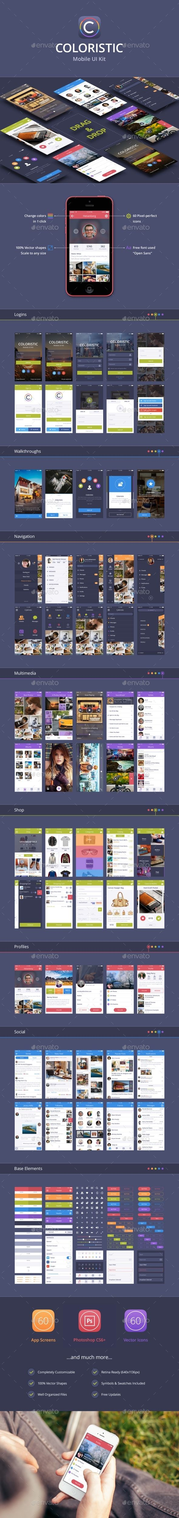 Coloristic: iOS/Android UI Kit (60 App Screens) - User Interfaces Web Elements