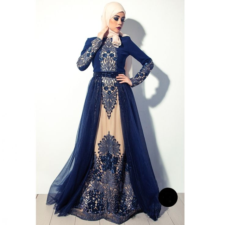 Cheap muslim evening dress, Buy Quality evening dress directly from China formal gowns Suppliers: High quality Navy Blue Muslim Evening Dress In Dubai Arabia hijab long sleeves formal gown beaded crystal embroidered prom dress