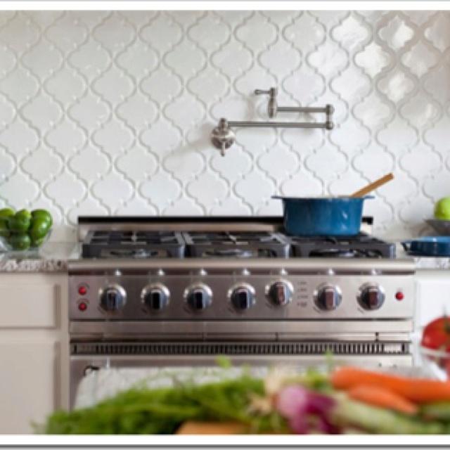 Beveled lattice tile backsplash   kitchen remodel