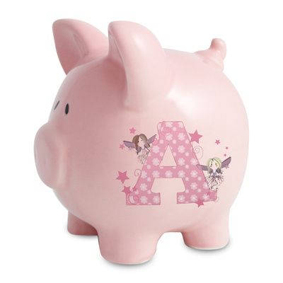 Girl's Piggy Bank, Personalised Money Box For Girls  £19.99  This cute pink ceramic girl's piggy bank is beautifully decorated with our fairy letter design. The money box can be personalised with an initial on the front and short message on the reverse.