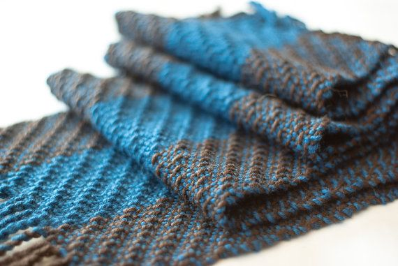 Scarf in wool blend blue and brown hand woven by TheWovenSheep