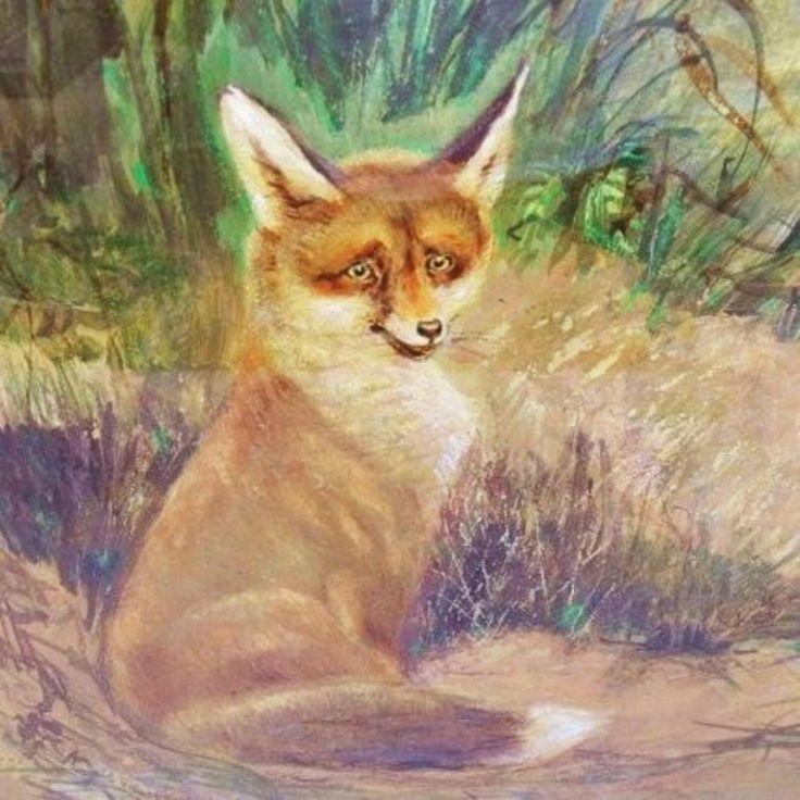 Gouache Malerei Fuchs, Signiert  (100502)