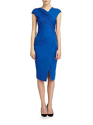 Crossover Draped Stretch Jersey Dress
