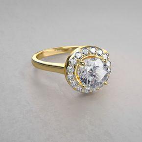 Modischer Halo Diamantring aus 14kt Gelbgold