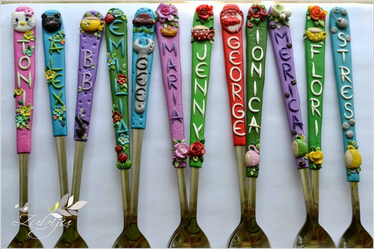 polymer clay decorated spoons by Zubiju