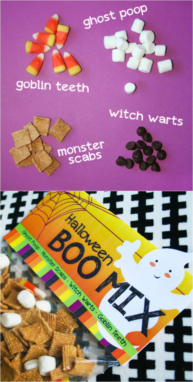 Haha, ghost poop! Make your own Halloween snack mix and use free printable labels to top the snack bags.