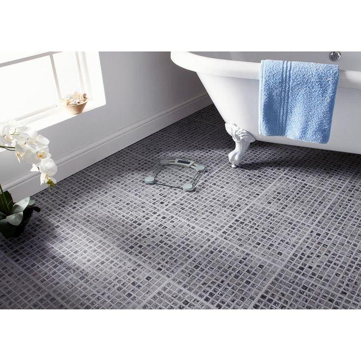 Self Adhesive Floor Tiles Grey Mosaic Effect