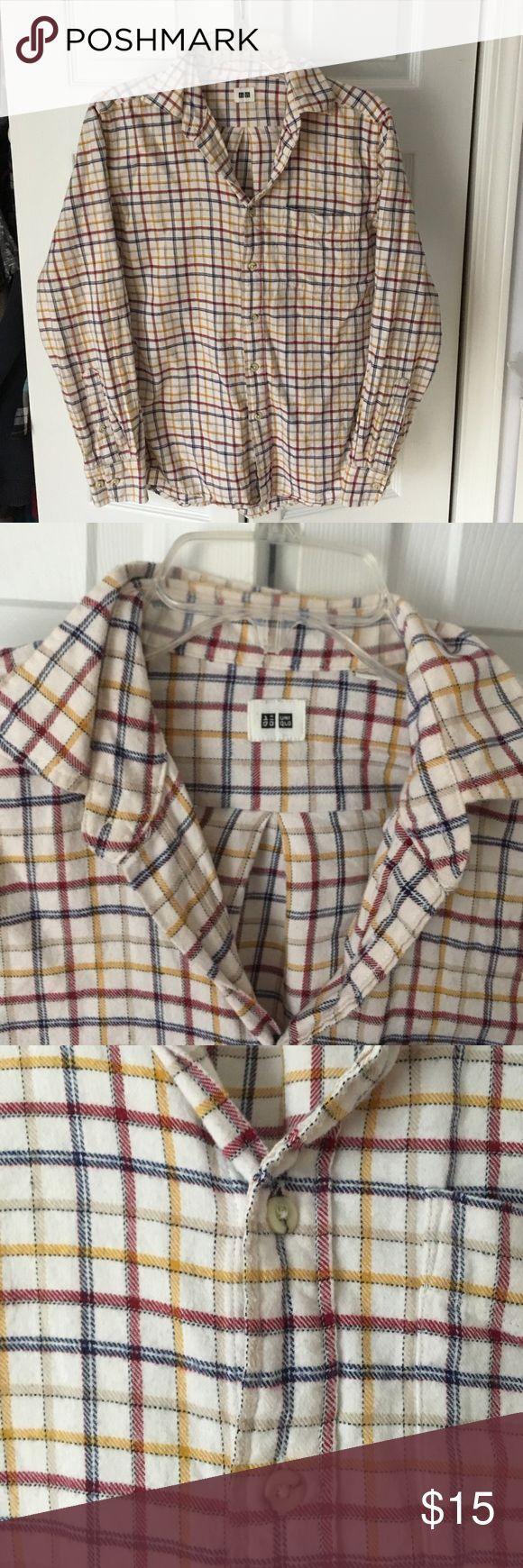 Button down flannel from Uniqlo Striped beige, red, and blue button down flannel from Uniqlo. Has front pocket. Uniqlo Shirts Casual Button Down Shirts