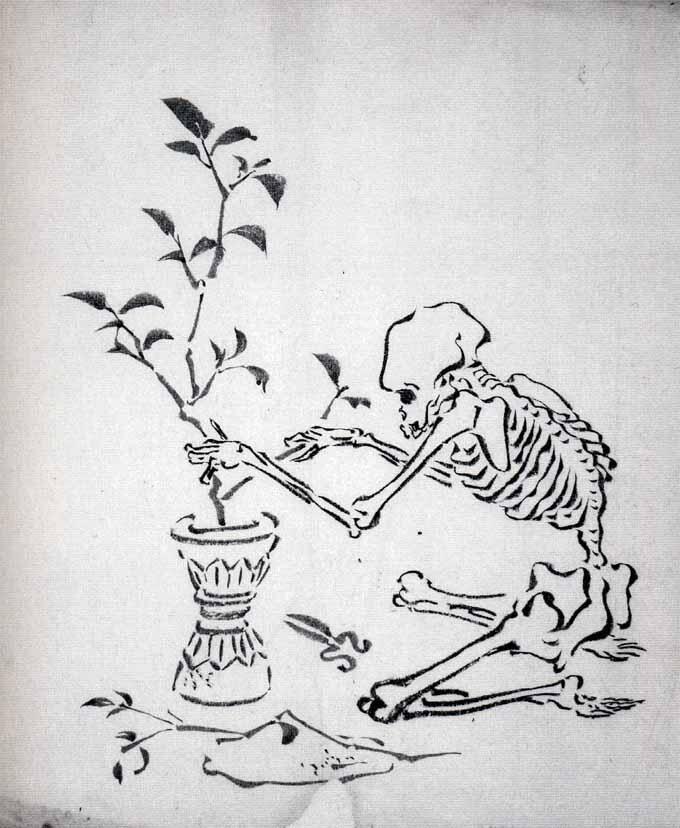 「花を活ける骸骨」河鍋暁斎