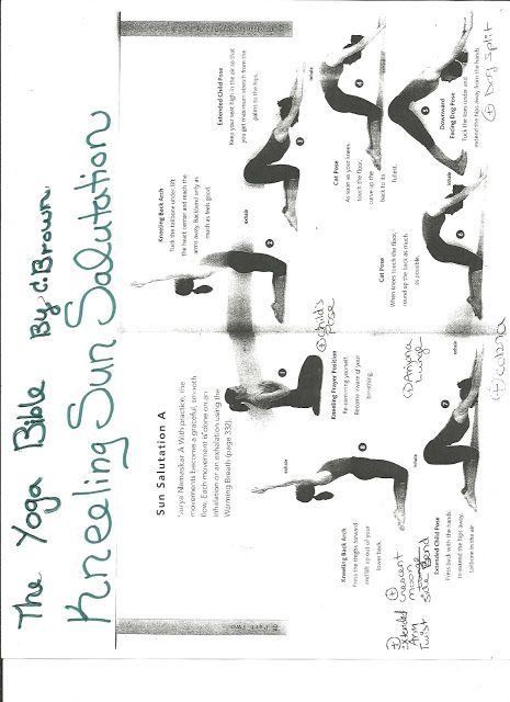 The Complete Yoga Plus Blog- THis is a great student handout- from THE YOGA BIBLE by Brown-- Kneeling Sun Salutation www.Laurayoga.webs.com
