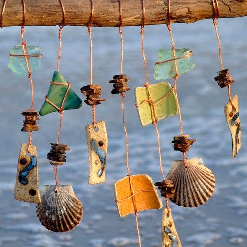 .: Ideas, Seashell, Windchimes, Wind Chimes, Beach, Diy, Mobile, Crafts