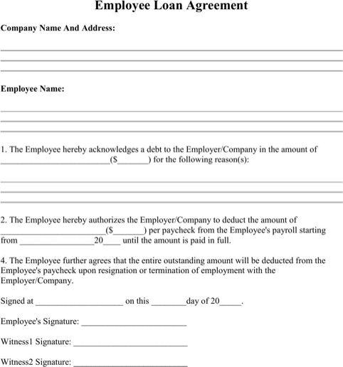Employee Loan Agreement Cash flow statement, Promissory