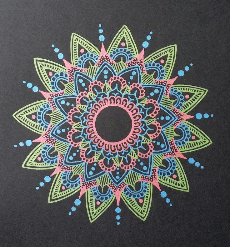 - Light green/Blue/Pink mandala - Drawn freehand - Gellyroll Metallic pens from Sakura