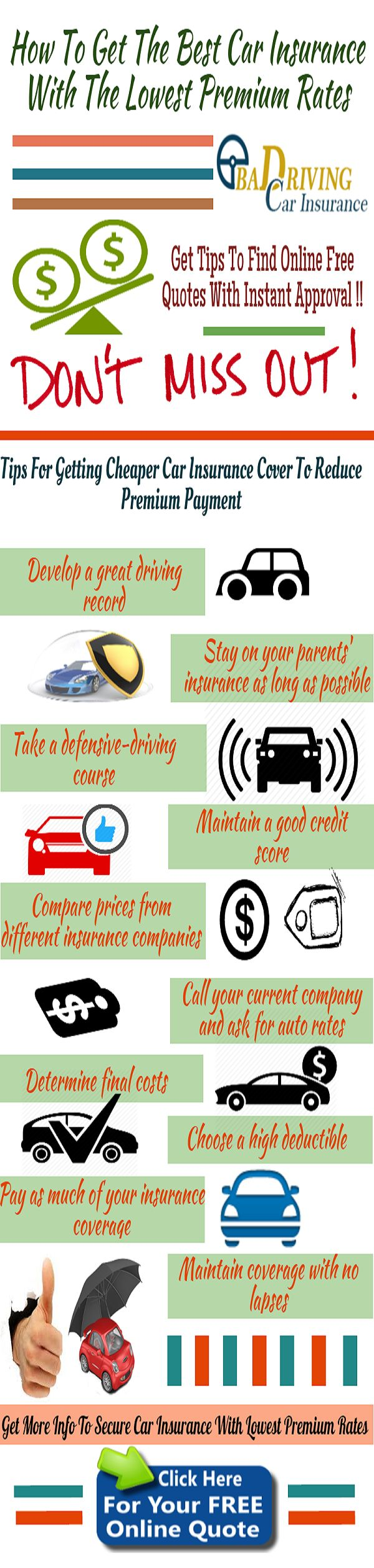 Car Insurance Free Quote 9 Best Carauto Insurance Infographic Images On Pinterest