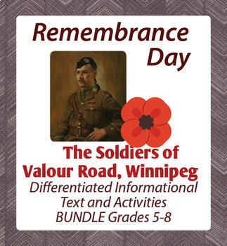 This resource includes two resources for Remembrance Day, The Soldiers of Valour Road, Winnipeg, one designed for students in grades 5-6 and one for students in grades 7-8. Both are offered in this small bundle to allow the classroom teacher to use for