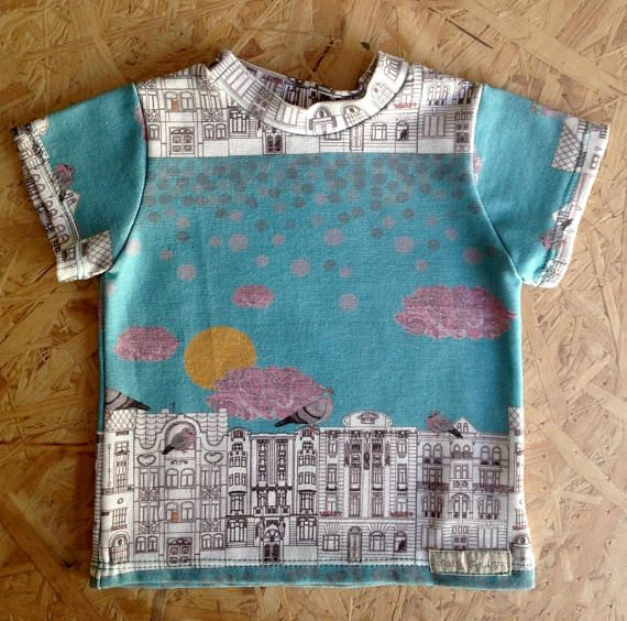 Handmade Prague architecture and pigeon print baby T-shirt