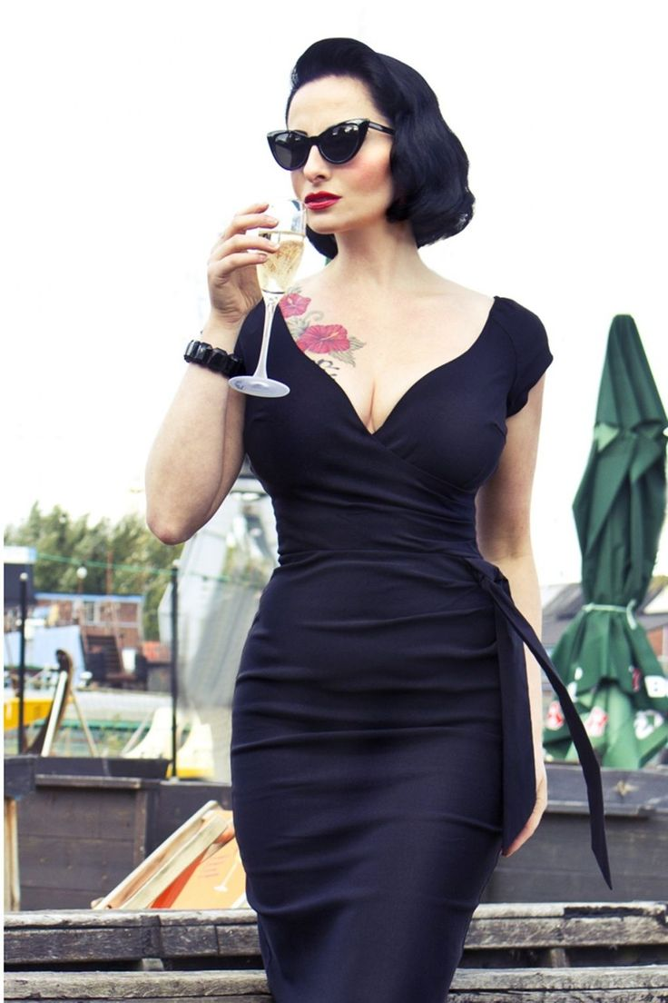 The Pretty Dress Company - Black Hourglass Vintage Pencil dress