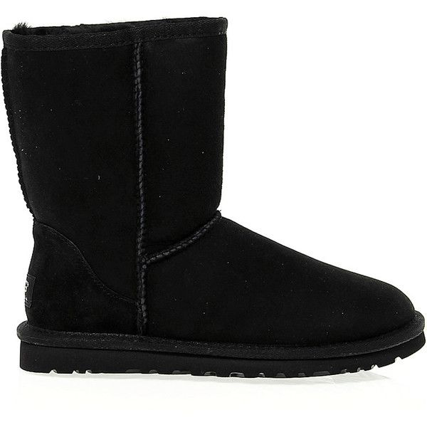 Ugg Australia Ankle Boots (555 BRL) ❤ liked on Polyvore featuring shoes, boots, ankle booties, uggs, 20. boots., suede bootie, black suede boots, black suede booties, suede boots and short boots