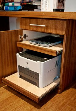 Teak Waterfall Desk & Floating Shelves Suite - contemporary - home office - los angeles - Silicate Studio