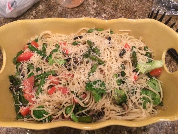 Asparagus, Mushrooms, Steamed brocolli and tomatoes sauteed with garlic and butter and tossed with boled spaghettini! Cant ask for an easier yet uber flavorful dinner or lunch!