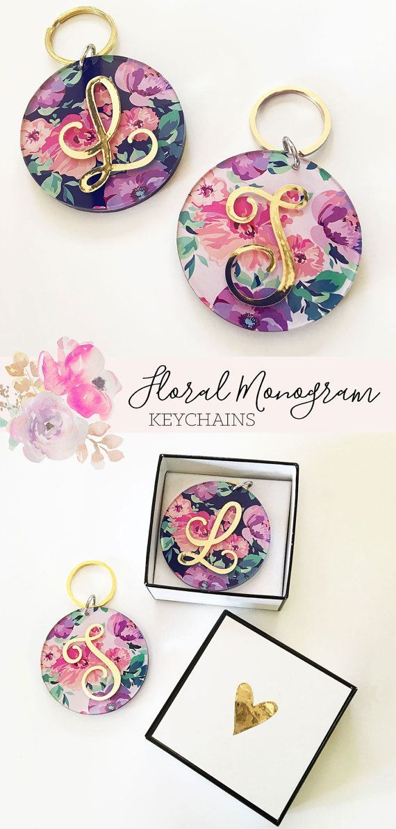 Monogram Keychains for Women Gold Keychain Acrylic Bridesmaid Keychain Floral Keychain Stocking Stuffers Bridesmaid Gift for Her (EB3185)