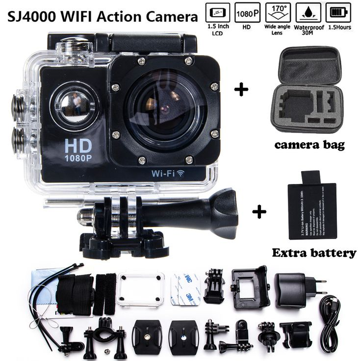 Add Camera Bag and two Battery Sport Action Camera 1080P HD 12MP SJ4000 WIFI extre Sports Camara Gopro hero 3 Go pro 4 Cam Style