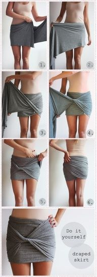 DIY Draped Skirt - with some directions just use longer material so it covers to your knee :)