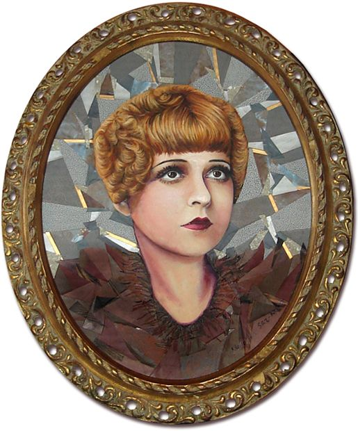 Collage portrait of the Silent Era movie star Clara Bow. Brown and Gray palette. Created by recycling a variety of paper products.