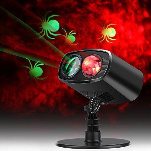 Halloween Projektionslampe, LED Weihnachten Licht Projektor IP65 Wasserdicht innen außen, Mauer Dekoration Spinne Motion, 6 Stunden Timer Effektlicht, Gartenlicht für Festen Party bar, Karneval, Urlaub Dekoration Lichter (Rot Grün Licht)