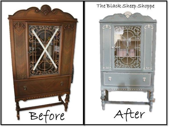 blue white vintage china cabinet de china china y pintar. Black Bedroom Furniture Sets. Home Design Ideas