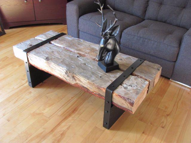 Table de salon bois de grange tables basses longueuil for Kijiji longueuil meuble