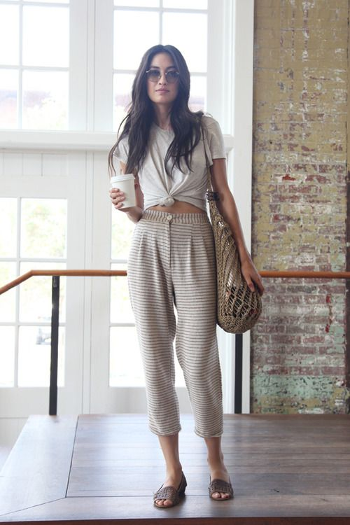 Shop this look for $45:  http://lookastic.com/women/looks/crossbody-bag-and-crew-neck-t-shirt-and-sandals-and-pajama-pants-and-sunglasses/2722  — Brown Knit Crossbody Bag  — Beige Crew-neck T-shirt  — Dark Brown Leather Sandals  — Khaki Horizontal Striped Pajama Pants  — Dark Brown Sunglasses