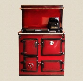 Reconditioned Rayburn No3 Claret Shaded Enamel with Plate Rack and Splash Back