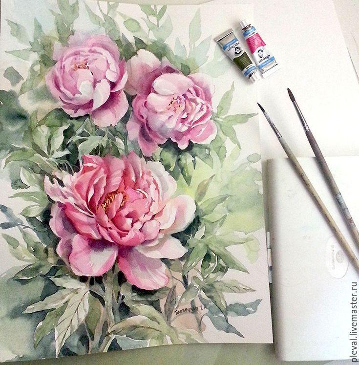 Купить Картина акварелью с пионами Розовые пионы - сиреневый, пион, цветы, акварель, картина в подарок