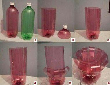 Florero con material reciclado
