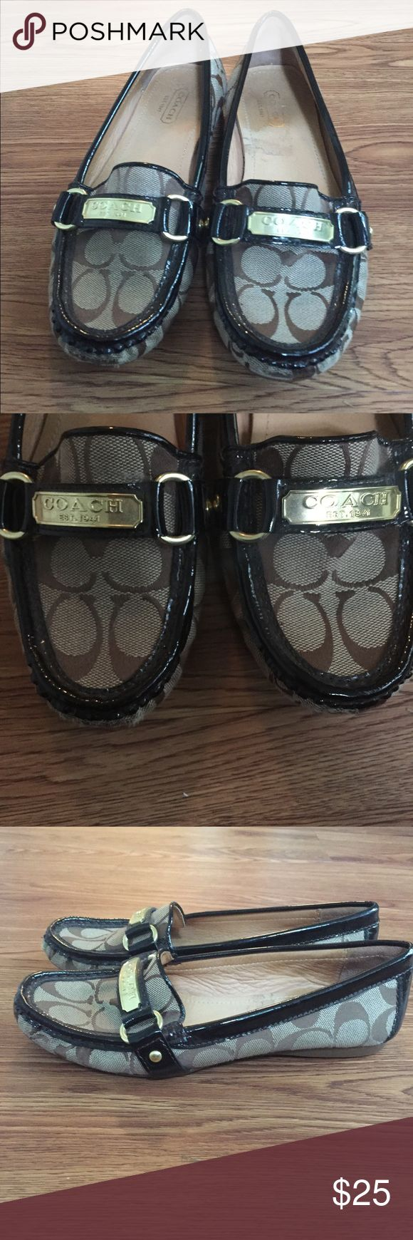 COACH Brown Flats This stylish and professional flats can make any outfit look dressed up. COACH flats in brown. Only worn twice. They were just a little small for me. Great staple for your wardrobe! Coach Shoes Flats & Loafers