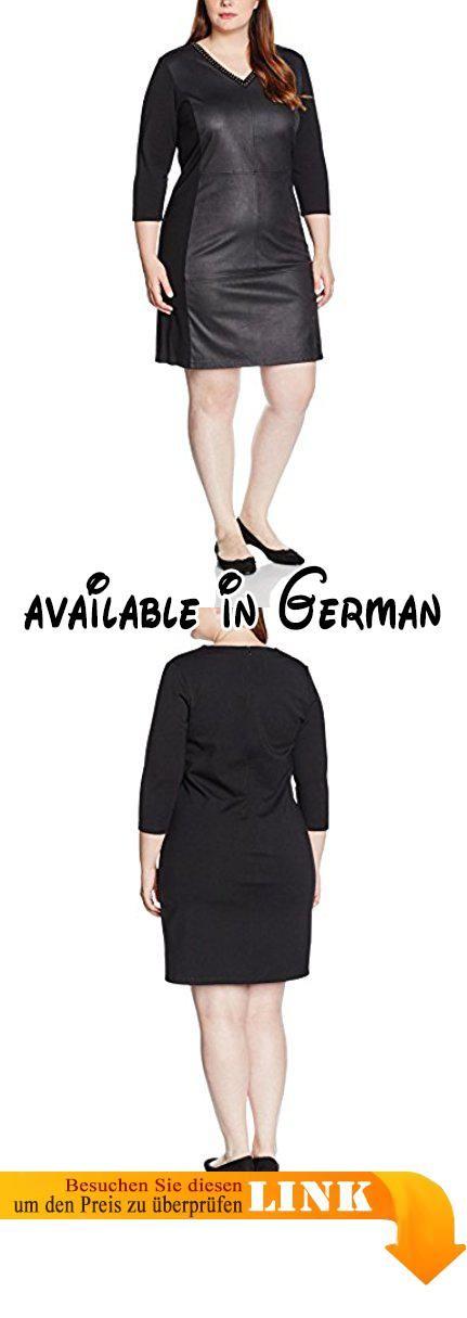 Frapp Damen Kleid MIT V - AUSSCHNITT 3/4 ARM, Knielang, Einfarbig, Gr. 48, Schwarz (Black 104). Supermodisches, knieumspielendes Kleid mit V-Ausschnitt und ¾ Ärmeln aus spannendem Materialmix. Das Vorderteil ist aus einem Kunstleder gearbeitet.. Die Interlock Jersey Qualität am Rücken und an den Ärmeln sorgt für die notwendige Bequemlichkeit und Elastizität. Der V-Ausschnitt ist mit kleinen Nieten verziert. #Apparel #DRESS