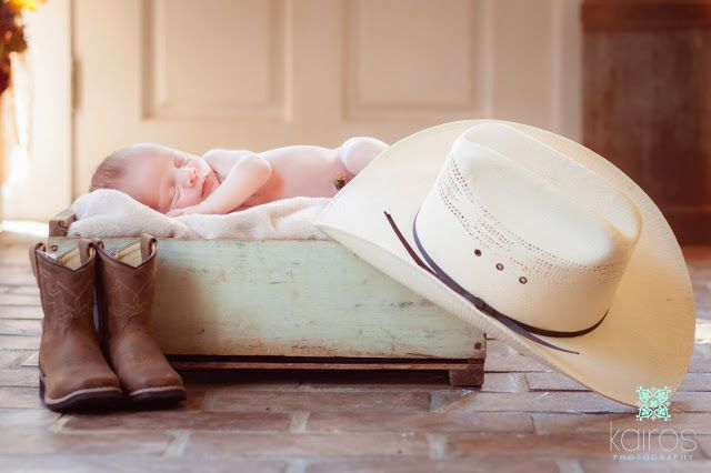 Cowboy newborn photo, cowboy boots baby, baby cowboy hat, country newborn pictures, Newborn photography, newborn pictures, sweet newborn photo, newborn boy photography, one week old pictures // Kairos photography - Springfield, MO and St. Louis, MO. newborn photographer