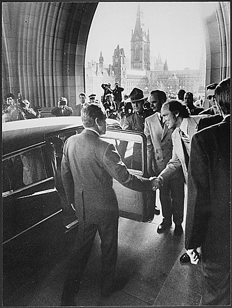 President Richard Nixon departing from the Canadian Parliament building, 04/14/1972