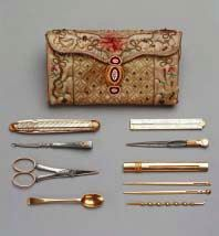 Mrs. Delany's tools from needlework pocket-book, given by Queen Charlotte to Mrs. Delany, 1781, satin, colored silks, and enamelled gold (The Royal Collection)