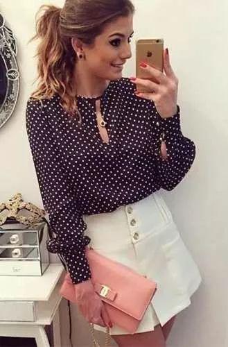 camisa blusa feminina seda javanesa estampa poa bolinha