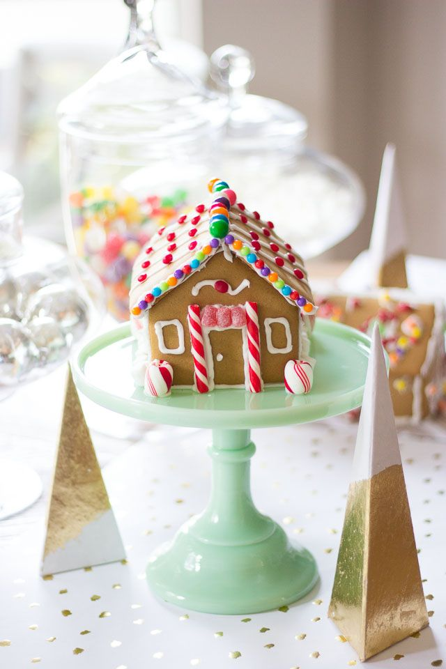 A colorful and candy filled gingerbread house decorating party!
