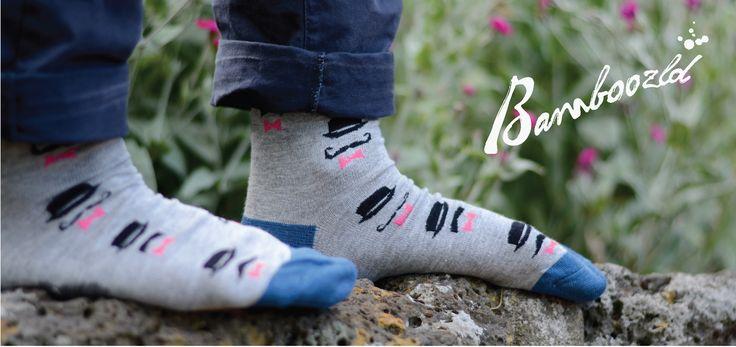 Ditsy TopHat & Moustache Socks from Bamboozld funky sock range http://www.pussyfootsocks.com.au/bamboozld-socks.html